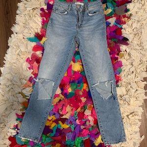 Zara Basic Denim Destroyed Skinny High Rise Jeans